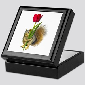 Squirrel Red Tulip Keepsake Box