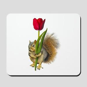 Squirrel Red Tulip Mousepad