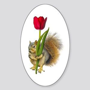 Squirrel Red Tulip Sticker (Oval)