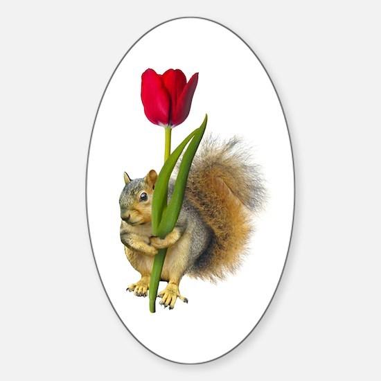Squirrel Red Tulip Sticker (Oval)