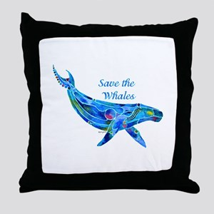 Humpback Save the Whales Throw Pillow