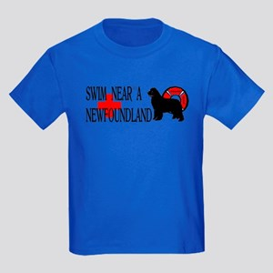 Swim Near A Newfoundland Kids Dark T-Shirt