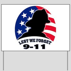 Remember 9-11 Fireman Yard Sign
