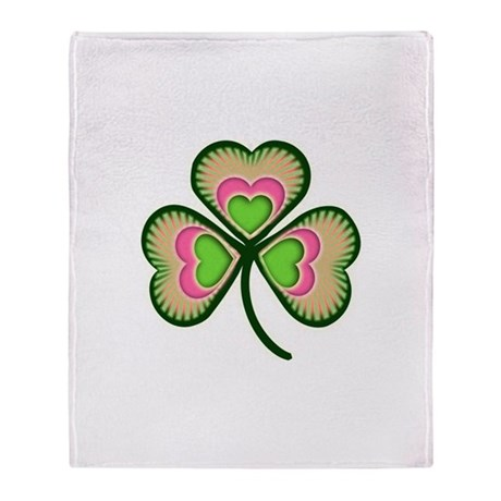 Fancy Irish Shamrock Throw Blanket