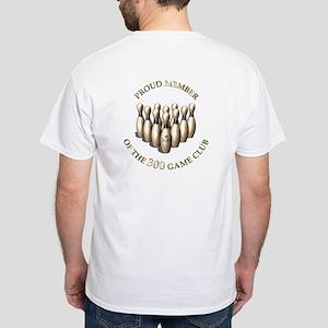 Bowling 300 Club - 2 Sided, White T-Shirt