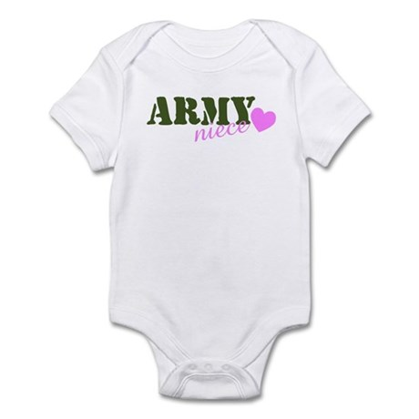 Army Niece Green & Heart Infant Creeper