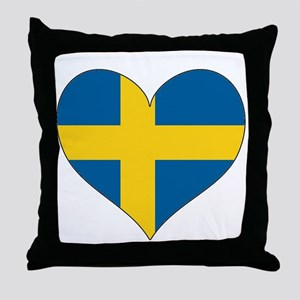 Flag in Heart Throw Pillow