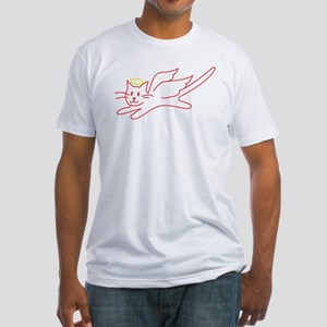 White Angel Kitty Fitted T-Shirt