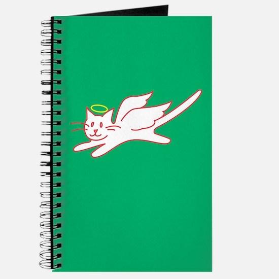 White Angel Kitty on Green Journal