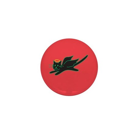 Black Angel Kitty on Red Mini Button