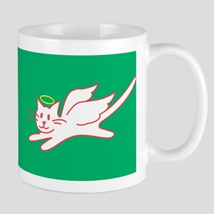 White Angel Kitty on Green Mug