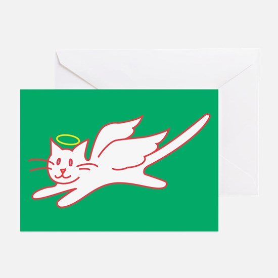 White Angel Kitty on Green Greeting Cards (10 Pk)