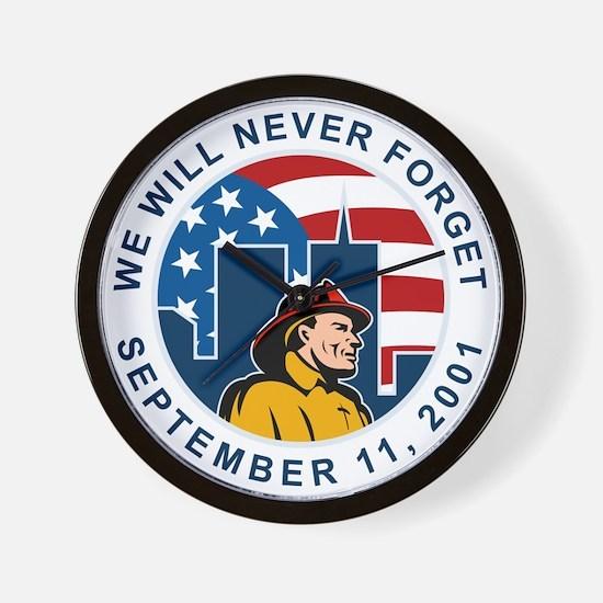 9-11 fireman firefighter Wall Clock