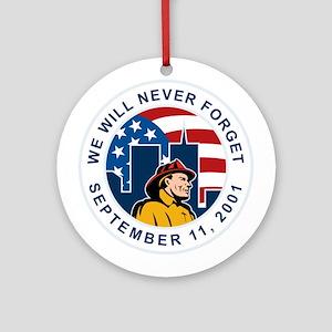 9-11 fireman firefighter Ornament (Round)