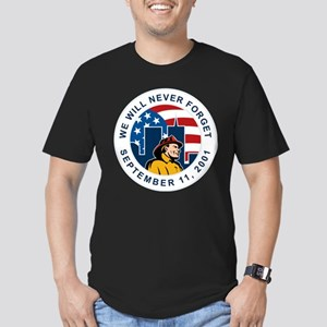9-11 fireman firefighter Men's Fitted T-Shirt (dar