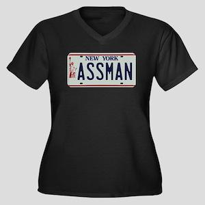 Seinfield Assman Women's Plus Size V-Neck Dark T-S