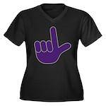 Big Purple Loser Women's Plus Size V-Neck Dark T-S