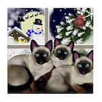 SIAMESE CATS SANTA CHRISTMAS Tile Coaster