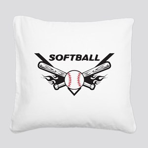 Softball Square Canvas Pillow
