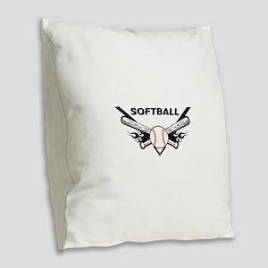 Softball Burlap Throw Pillow