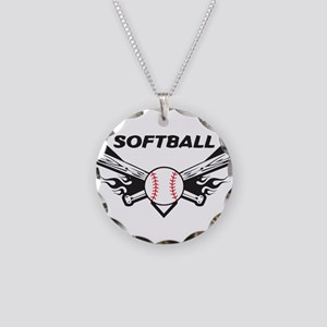 Softball Necklace Circle Charm