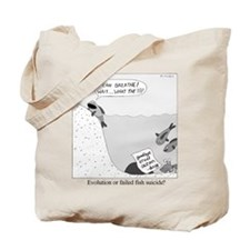 Evolution or Failed Fish Suicide Tote Bag