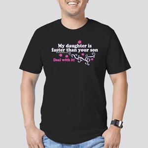 faster than yours 1 Men's Fitted T-Shirt (dark)