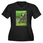 SQUIRREL! Women's Plus Size V-Neck Dark T-Shirt