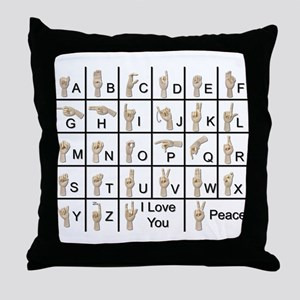 Ameslan Alphabet Throw Pillow