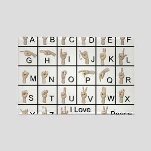 Ameslan Alphabet Rectangle Magnet