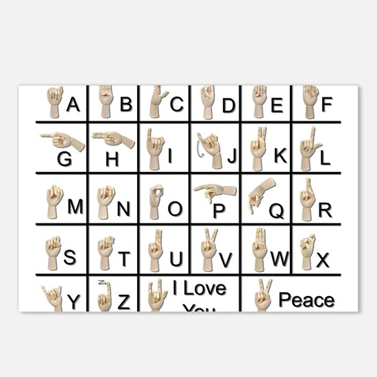 Ameslan Alphabet Postcards (Package of 8)