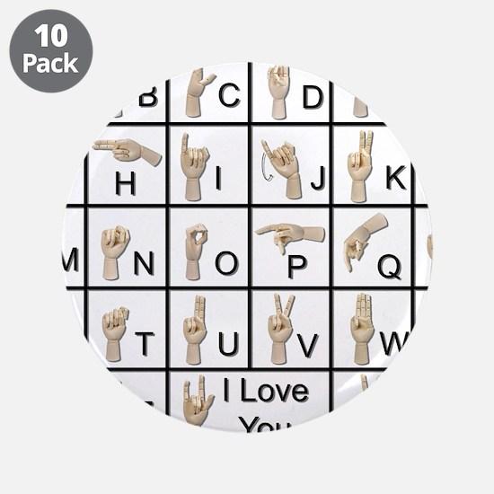 """Ameslan Alphabet 3.5"""" Button (10 pack)"""