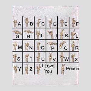 Ameslan Alphabet Throw Blanket