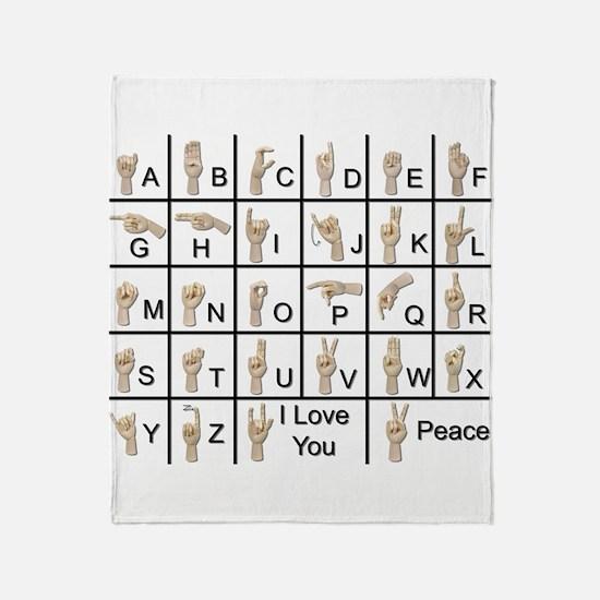 Ameslan Alphabet Throw Blanket