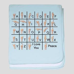 Ameslan Alphabet baby blanket