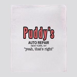 Puddy's Auto Repair Seinfield Throw Blanket