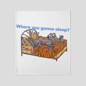 NC Blu Where you gonna sleep Throw Blanket