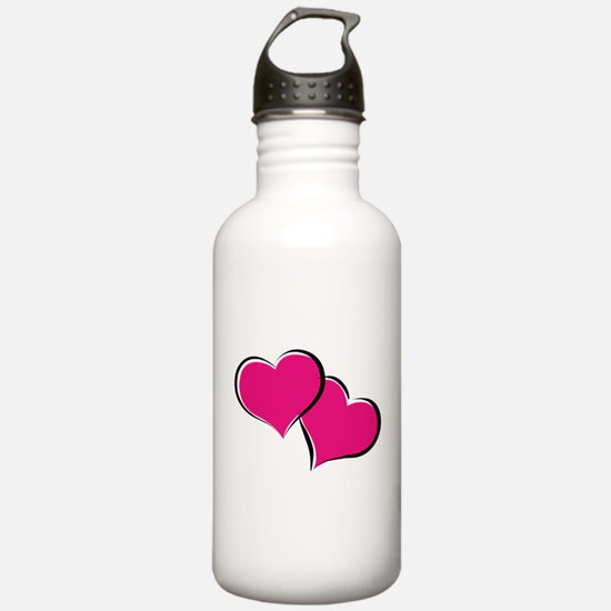 HEARTS {30} : hot pink Water Bottle