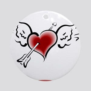 HEART, WINGS & ARROW {1} : re Ornament (Round)