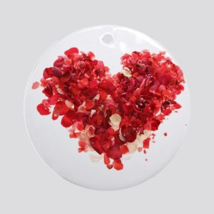 ROSE PETAL HEART Ornament (Round)