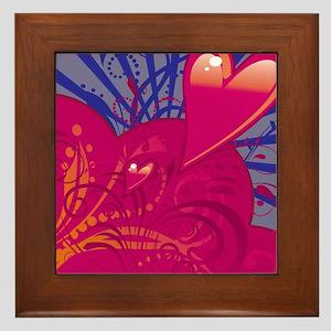 HEARTS {36} : pink/blue Framed Tile