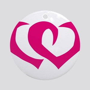 HEARTS {39} : pink Ornament (Round)