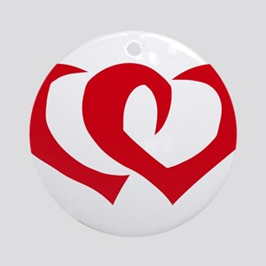 HEARTS {39} : red Ornament (Round)