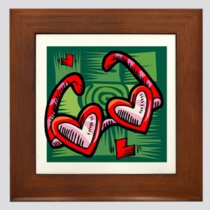 ROSE COLORED HEART SHAPED GLA Framed Tile
