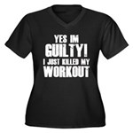 Killed My Workout Women's Plus Size V-Neck Dark T-