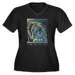 Temple Lion Women's Plus Size V-Neck Dark T-Shirt