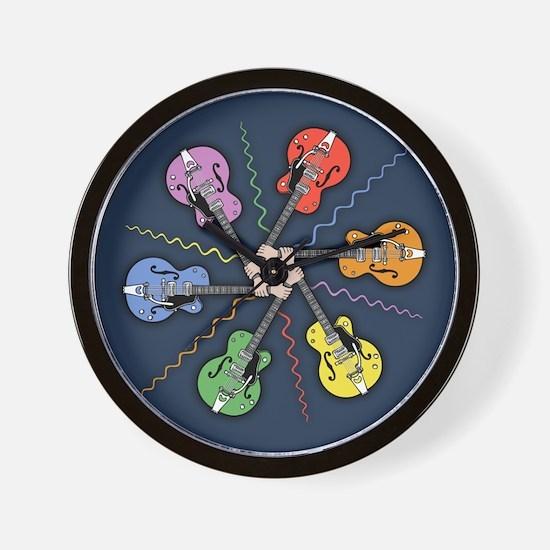 Guitar Color Wheel Wall Clock
