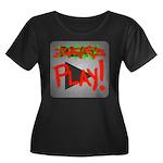 Play Button Women's Plus Size Scoop Neck Dark T-Sh