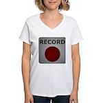 Record Button Women's V-Neck T-Shirt