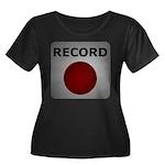 Record Button Women's Plus Size Scoop Neck Dark T-